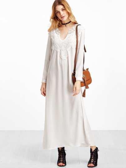 White V Neck Crochet Trim Shift Dress