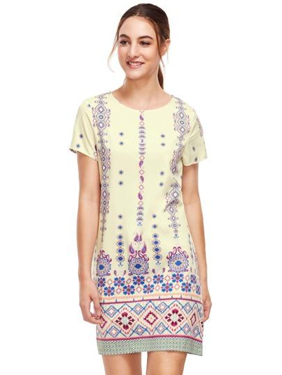 Dunkelblaues Aztec Print Shift Kleid