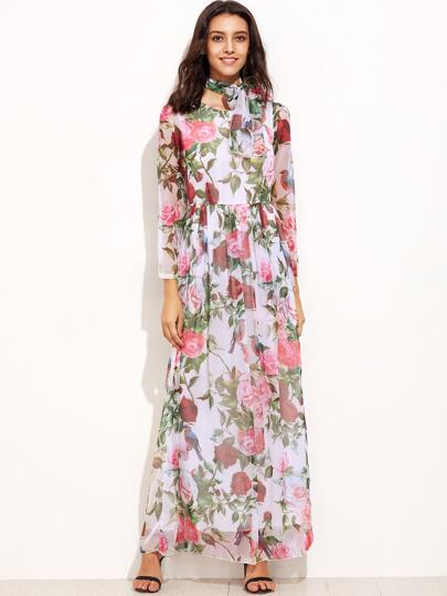 Floral Print Chiffon Dress With Belt