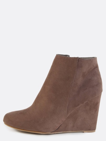 Suede Almond Toe Wedge Ankle Boots TAUPE
