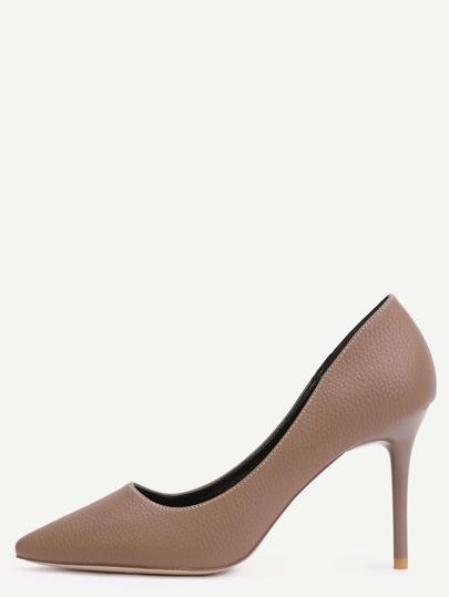 Khaki Faux Leather Point Toe Heels