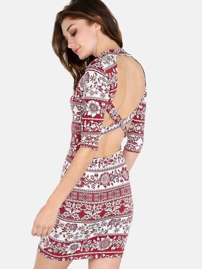 Backless Mock Neck Printed Dress DARK WINE