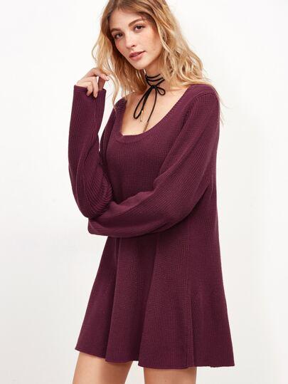 Burgundy Scoop Neck Swing Sweater Dress