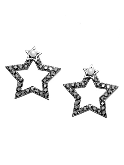 Black Hollow Star Rhinestone Stud Earrings
