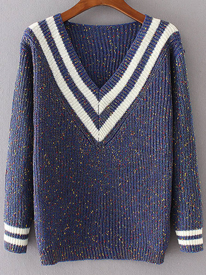 Blue Striped V Neck Sweater