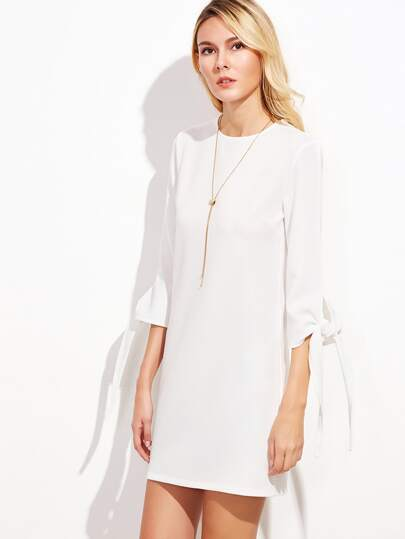 White Keyhole Back Tie Sleeve Shift Dress