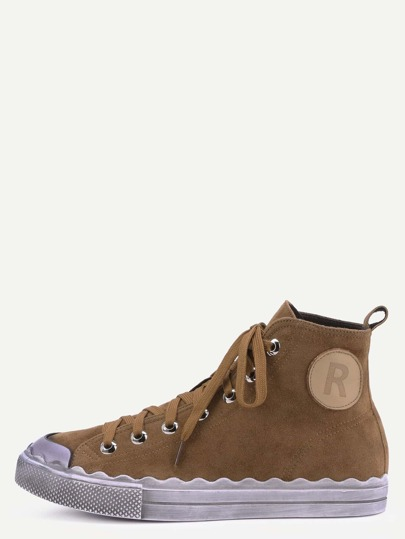 Zapatillas plana de cuero con suela gruesa - camello