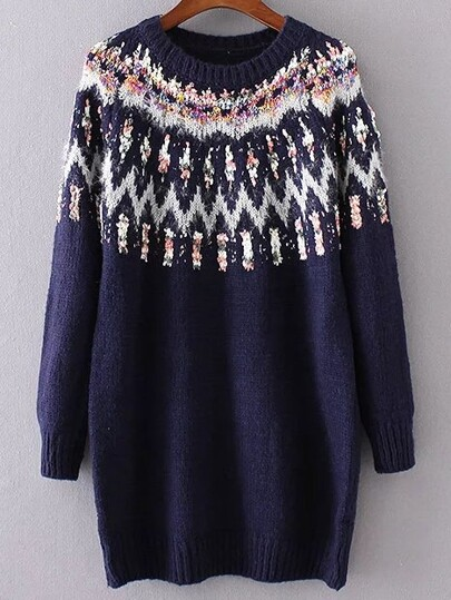 Navy Ribbed Trim Chunky Jacquard Sweater