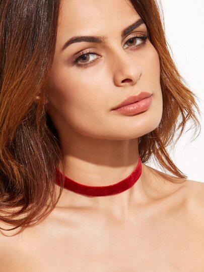Burgundy Velvet Slim Choker Necklace