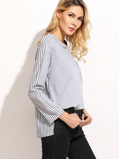 Contrast Vertical Striped Slit Side High Low Top