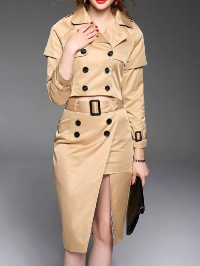 Khaki Lapel Belted Top With Split Skirt