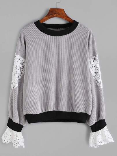 Contrast Trim Crochet Insert Ribbed Sweatshirt