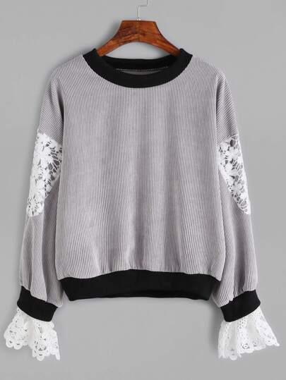 Contrast Trim Crochet Insert Ribbed Sweatshirt
