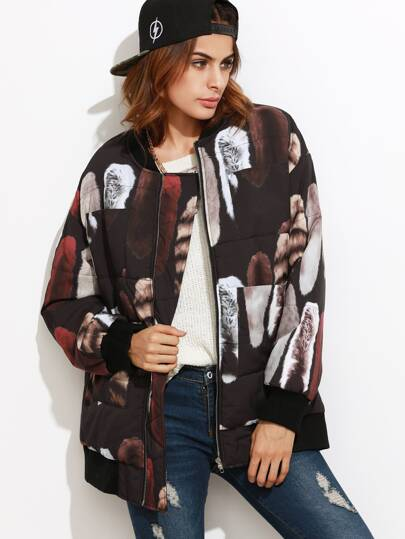 Black Printed Zip Up Quilted Bomber Jacket