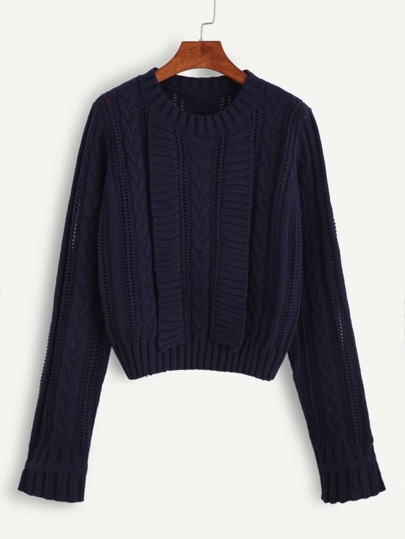 Navy Hollow Out Cable Knit Sweater