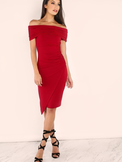 Red Foldover Off The Shoulder Ruched Wrap Dress