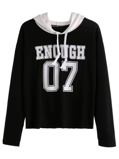 Black Varsity Print Contrast Hooded Sweatshirt