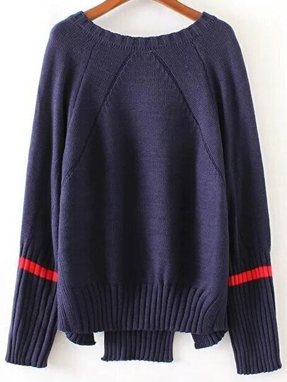 Navy Striped Trim Split Asymmetrical Sweater