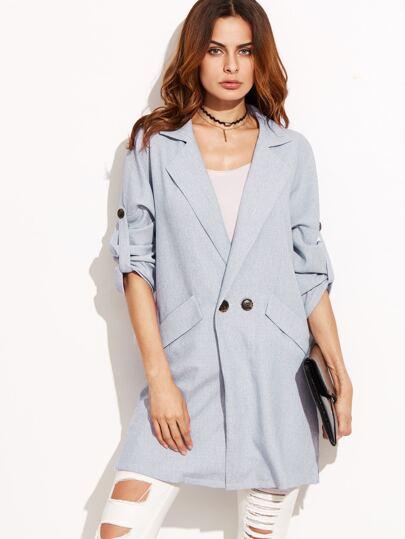 Blue Drop Shoulder Roll Tab Sleeve Coat