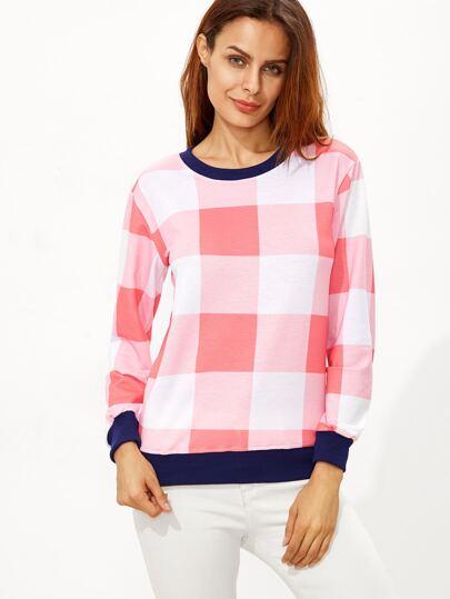 Pink Plaid Contrast Ringer Sweatshirt
