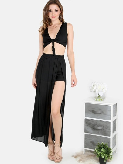 Front Tie Crop Maxi Skort Set BLACK
