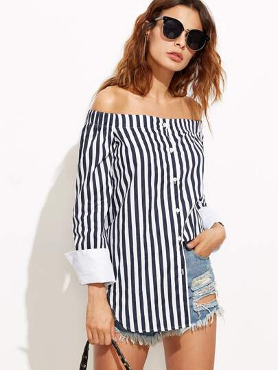 Bardot Vertical Striped Cuffed Curved Hem Top