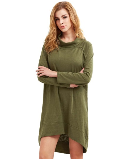 Army Green Cowl Neck Dip Hem Dress