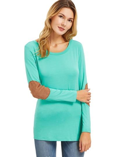 Green Long Sleeve Elbow Patch T-Shirt