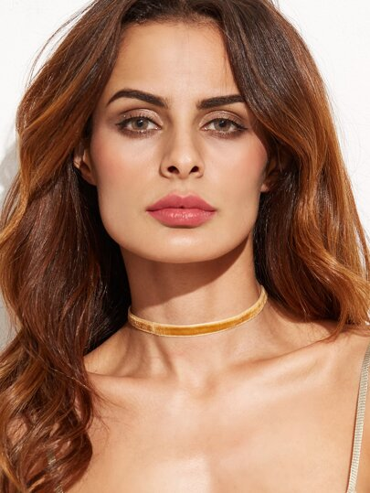 Orange Velvet Choker Necklace