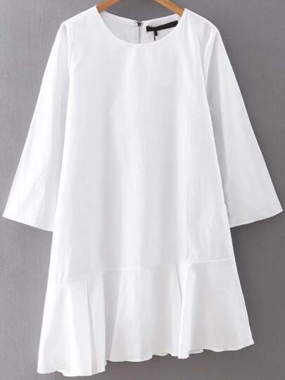Kleid mit Reißverschluss zurück Rüschen Asymmetrische Saum -weiß