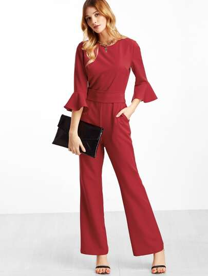 Red Ruffle Cuff Belted Jumpsuit