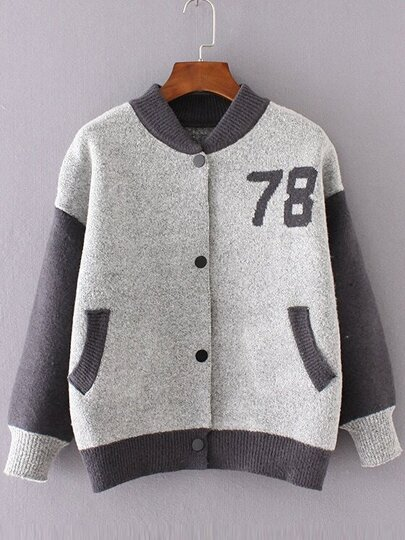 Light Grey Graphic Pattern Knitted Bomber Jacket