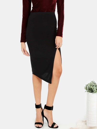 Classic Slit Bodycon Skirt BLACK