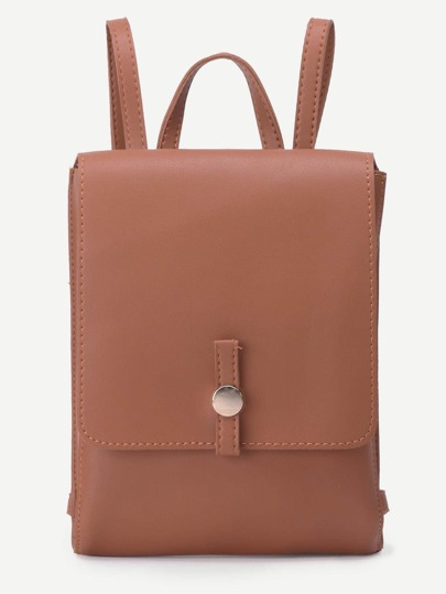 Khaki Faux Leather Flap Backpack