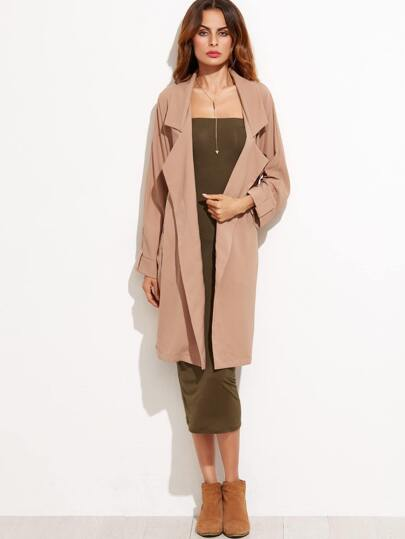 Khaki Long Trench Coat With Belt