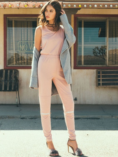 Pink Tank Top Elastic Waist Ribbed Jumpsuit