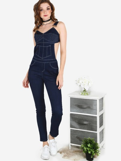 Backless Bustier Overall Jumpsuit DENIM