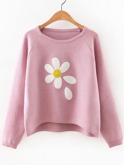 Pink Flower Print Raglan Sleeve Dip Hem Sweater