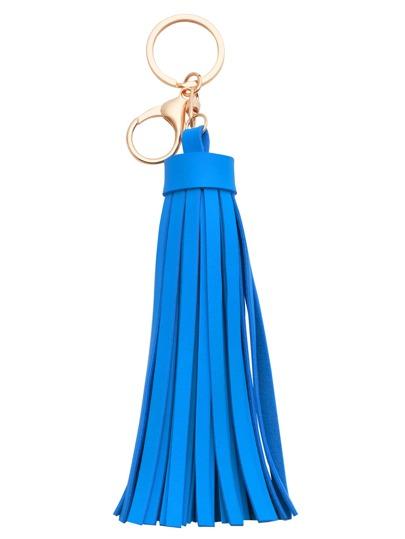Blue Faux Leather Tassel Keychain
