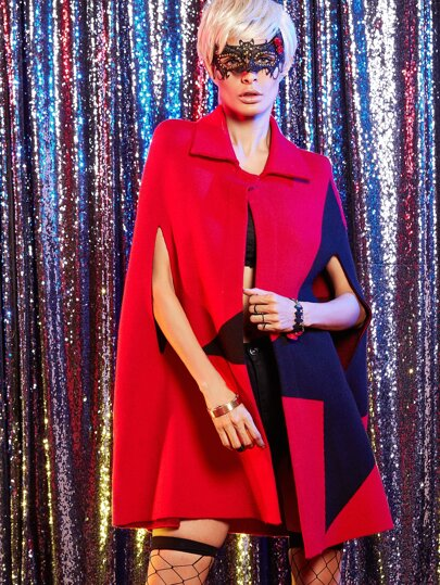 Red Color Block Cape Coat With Button