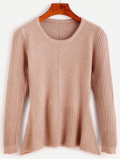 Khaki Ribbed Peplum Sweater