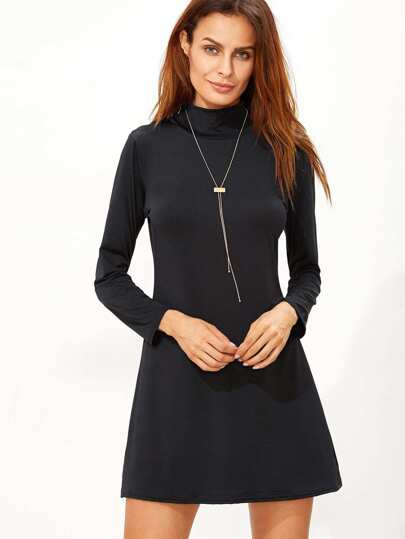 Black High Neck T-shirt Dress