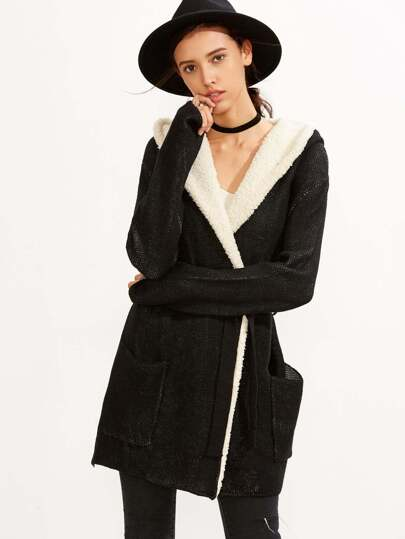 Black Contrast Faux Fur Sweater Coat With Pockets