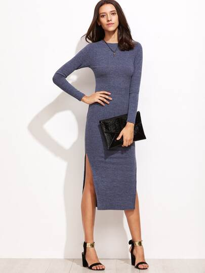 Split Side Ribbed Sweater Dress