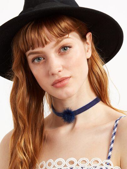 Navy Velvet Pom Pom Choker Necklace