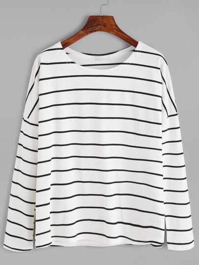 T-shirt à rayure col rond - noir et blanc