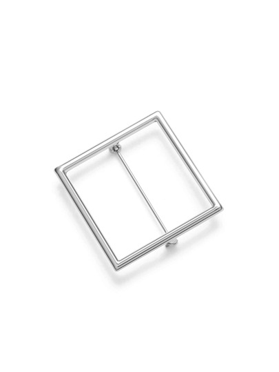 Silver Square Hollow Out Brooch