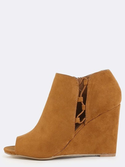 Lace Up Side Wedge Boots COGNAC