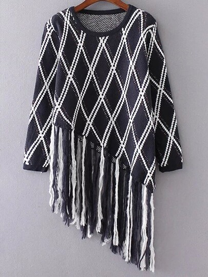 Navy Diamond Pattern Fringe Hem Asymmetrical Sweater