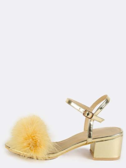 Feather Metallic Block Heels GOLD